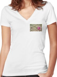 Pink Wedding Rose Women's Fitted V-Neck T-Shirt
