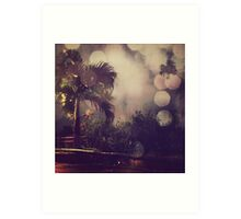 Palm tree and the night Art Print