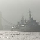 HMS Belfast on the Thames at Tower Bridge, London by MisterD
