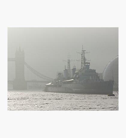 HMS Belfast on the Thames at Tower Bridge, London Photographic Print