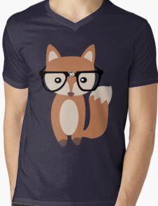 Hipster baby fox w glasses geek funny nerd Mens V-Neck T-Shirt
