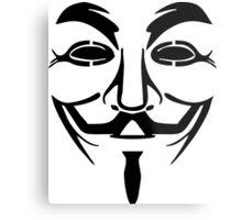 Anonymous Mask Silhouette Metal Print
