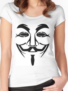 Anonymous Mask Silhouette Women's Fitted Scoop T-Shirt