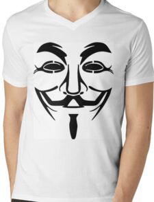 Anonymous Mask Silhouette Mens V-Neck T-Shirt