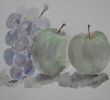 Still life ~ apples 'n' grapes by BunnyLV