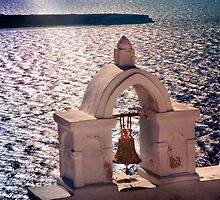 Bell Tower, Town of Oia in Santorini Greece by Yuri Lev