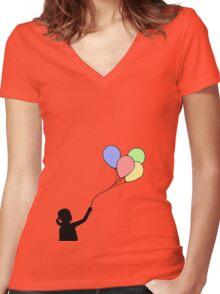 Balloon Girl - Black Fill Women's Fitted V-Neck T-Shirt