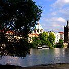 Prague -  Vltava river by Jean-Luc Rollier