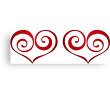 Red Swirly Love Hearts Canvas Print
