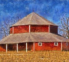 Round Barn And The Corn Field by Linda Miller Gesualdo