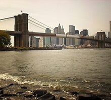 The Brooklyn Bridge, A Riverfront View by Vivienne Gucwa