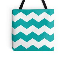 Bold Teal and White Chevron Print Tote Bag