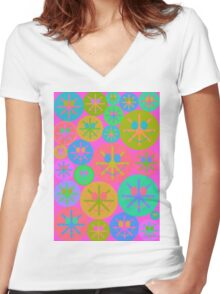 Sweet Happy Smiley Women's Fitted V-Neck T-Shirt