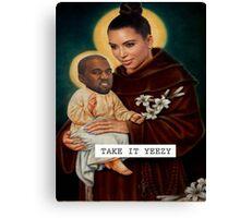 Kim K and Baby Kanye - Saintly Celeb Canvas Print