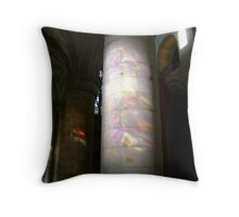 Stained glass onto stone column, Dunfermline Abbey nave Throw Pillow