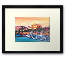 Spain Balearic Island Palma De Majorca With Harbour And Cathedral Framed Print