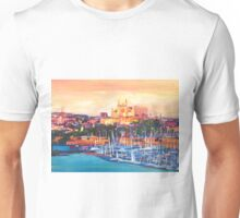 Spain Balearic Island Palma De Majorca With Harbour And Cathedral Unisex T-Shirt