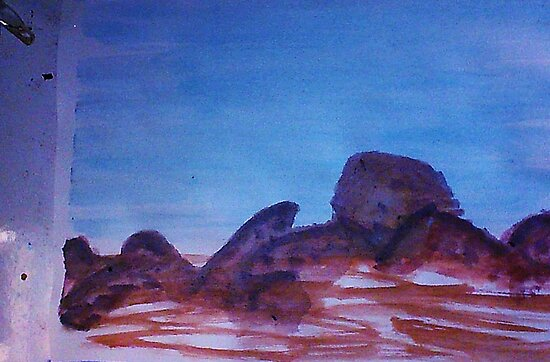 Big Boulders and Rocks  to  Cimb, watercolor by Anna  Lewis