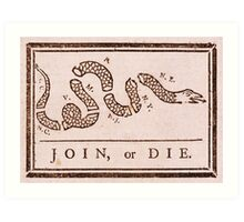 Benjamin Franklin's Join or Die Political Cartoon Art Print