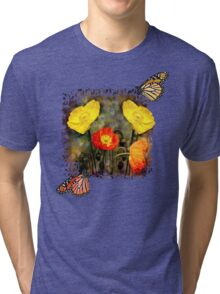 Yellow and Red Poppies Tri-blend T-Shirt