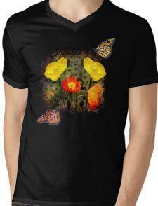 Yellow and Red Poppies Mens V-Neck T-Shirt