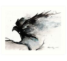 Abstract raven ink art Art Print