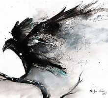 Abstract raven ink art by siljaerg
