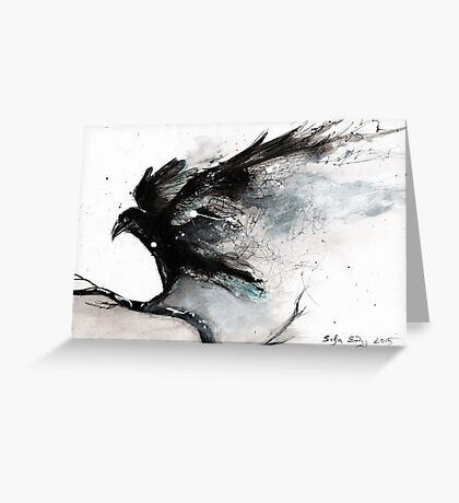 Abstract raven ink art Greeting Card