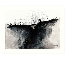 Abstract raven flying Art Print