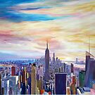 New York City Manhattan Panorama with WTC Chrysler Empire State Building by artshop77
