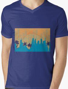 Retro Skyline Mens V-Neck T-Shirt