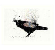 Glitch raven with rainbow ink splatter Art Print