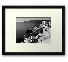 Santorini Cliffs ~ Black & White Framed Print