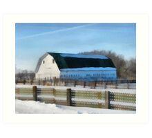 Snow Barn Art Print