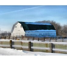Snow Barn Photographic Print