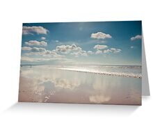 Little fluffy clouds reflected, Saunton Sands, Devon Greeting Card