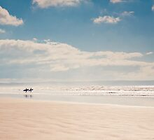 Heading into the surf, Saunton Sands, Devon by Zoe Power