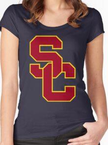 interlocking usc  Women's Fitted Scoop T-Shirt