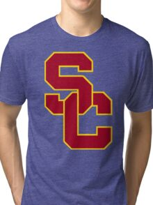 interlocking usc  Tri-blend T-Shirt