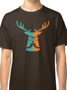 Cute Deer Hipster Animal With Glasses Mustache Classic T-Shirt