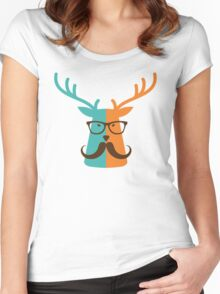 Cute Deer Hipster Animal With Glasses Mustache Women's Fitted Scoop T-Shirt