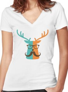 Cute Deer Hipster Animal With Glasses Mustache Women's Fitted V-Neck T-Shirt