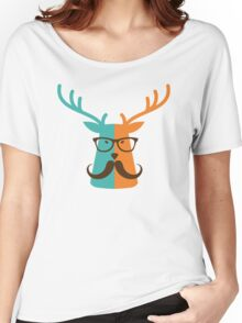 Cute Deer Hipster Animal With Glasses Mustache Women's Relaxed Fit T-Shirt
