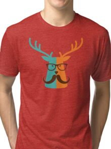 Cute Deer Hipster Animal With Glasses Mustache Tri-blend T-Shirt