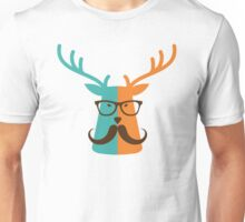 Cute Deer Hipster Animal With Glasses Mustache Unisex T-Shirt