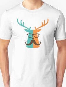 Cute Deer Hipster Animal With Glasses Mustache T-Shirt