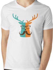 Cute Deer Hipster Animal With Glasses Mustache Mens V-Neck T-Shirt