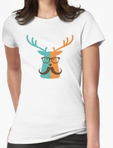 Cute Deer Hipster Animal With Glasses Mustache Womens Fitted T-Shirt