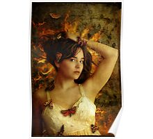 Girl with Moths Poster
