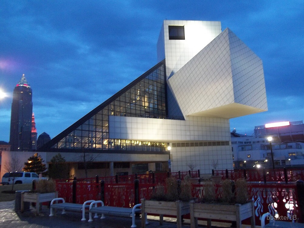 Rock and Roll Hall of Fame with Overcast Sky by bbaxter18